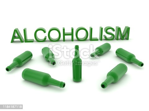 istock 3D Rendering showing alcohol addiction 1184187118