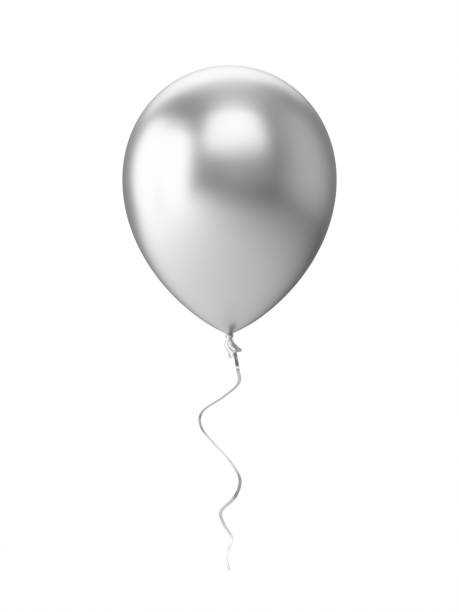 3D Rendering silver Balloon Isolated on white Background stock photo