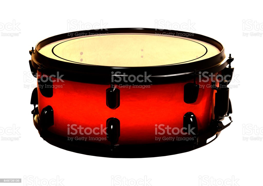 3D rendering snare drum on white stock photo