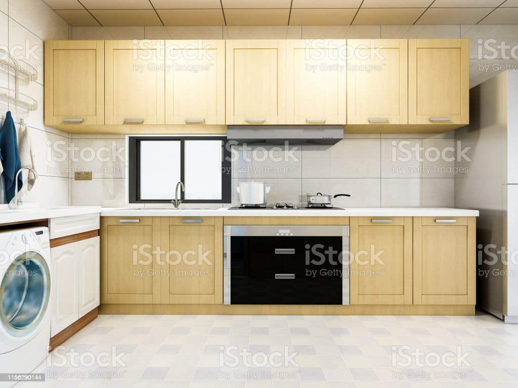 3d Rendering Spacious Modern Kitchen Design Whole Solid Wood Cabinet With  Washing Machine Refrigerator And Other Appliances Cooking And Washing More  ...