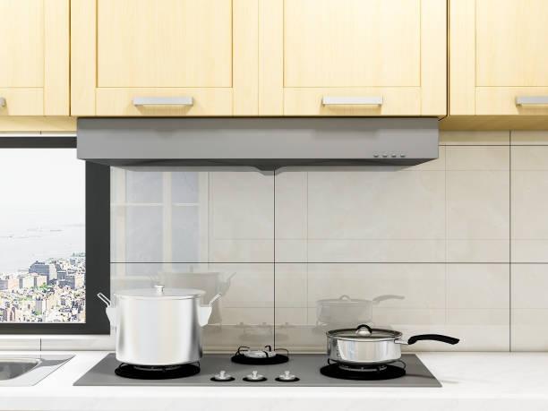 3d-rendering, geräumige moderne küche design, ganze massivholzschrank mit waschmaschine / kühlschrank und andere geräte, kochen und waschen bequemer - backofenfenster reinigen stock-fotos und bilder