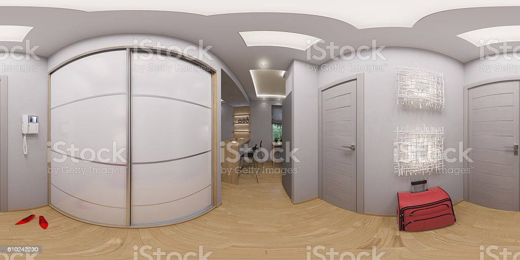 rendering spherical 360 degrees, seamless panorama hall inter stock photo