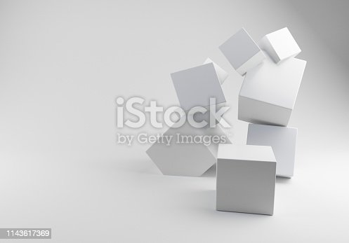 3D Rendering Stack of three White Boxe