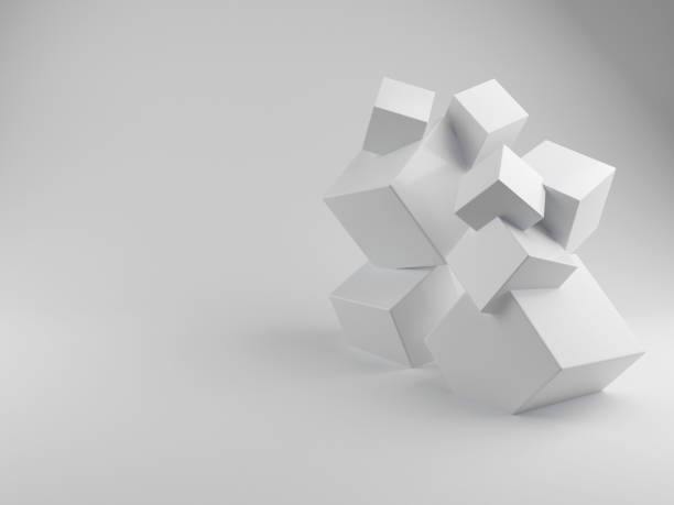 3D Rendering Stack of three White Boxe stock photo