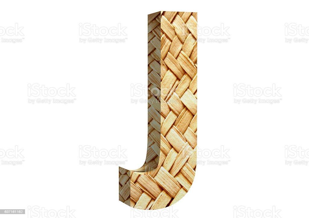 3D Rendering Straw J Font 3D Illustration stock photo