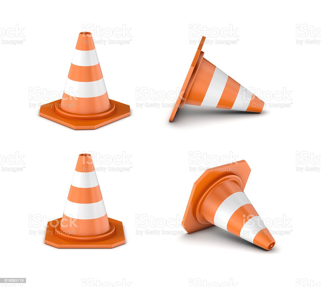 Rendering striped traffic cone isolated on the white background. stock photo