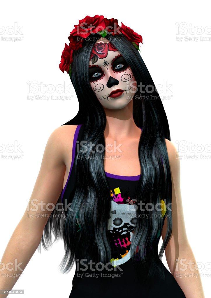 3D rendering suger skull girl on white stock photo