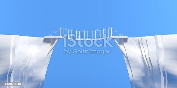 3D rendering suspension bridge with blue sky