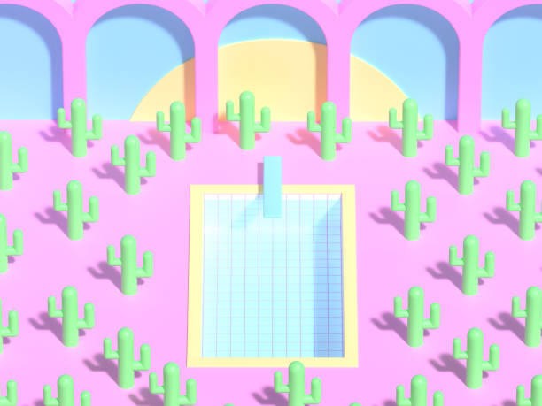 3D rendering. Swimming pool with water among a lot of green plastic cactuses on background of yellow sun and architectural arch. stock photo
