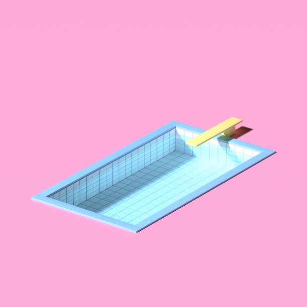 3D rendering. Swimming pool with water on pink background in isometric minimal style.