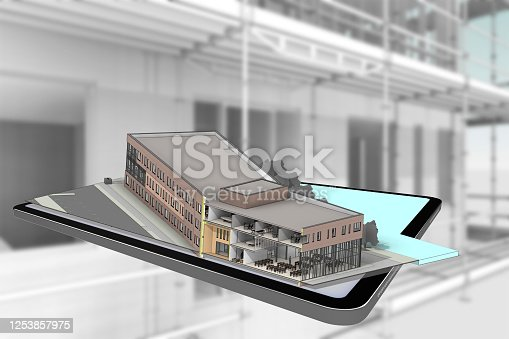 istock 3D rendering tablet with building 1253857975
