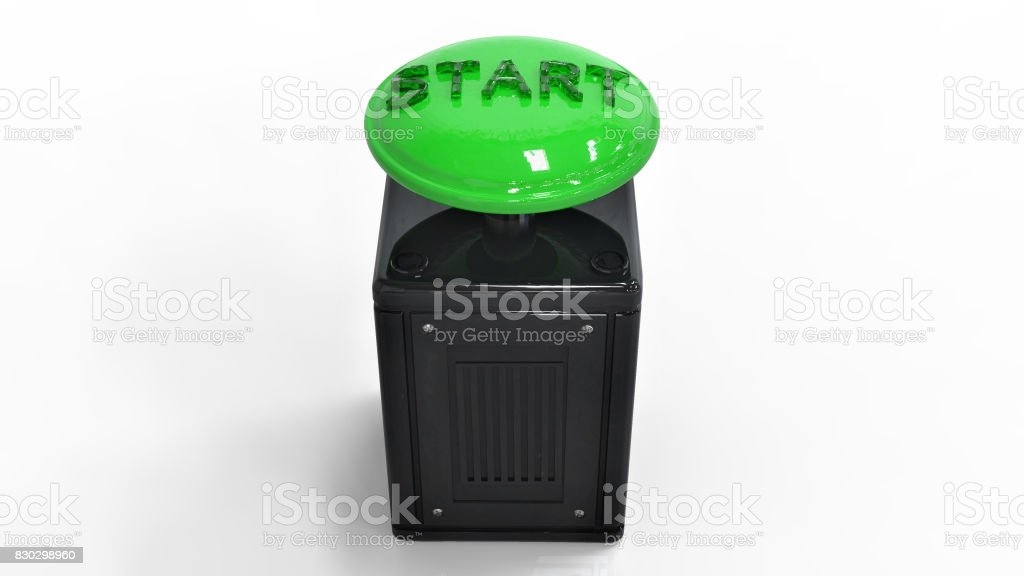 3D rendering. The start button stock photo