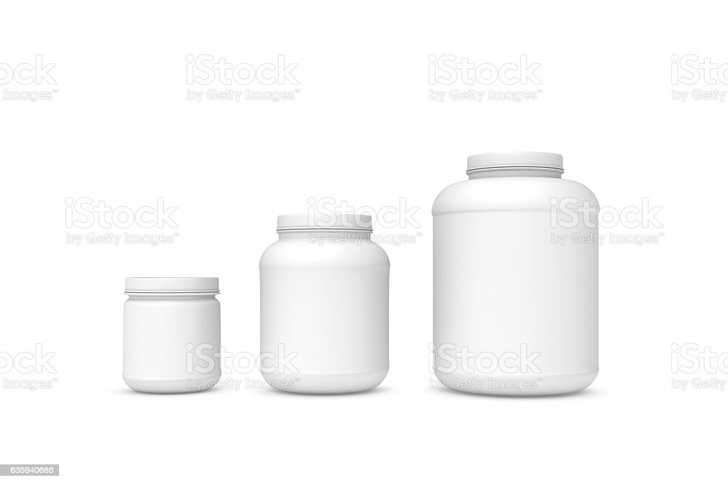 Rendering three blank white plastic jars of different sizes stock photo