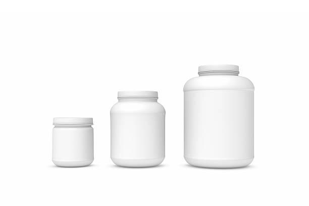 Rendering three blank white plastic jars of different sizes stock photo