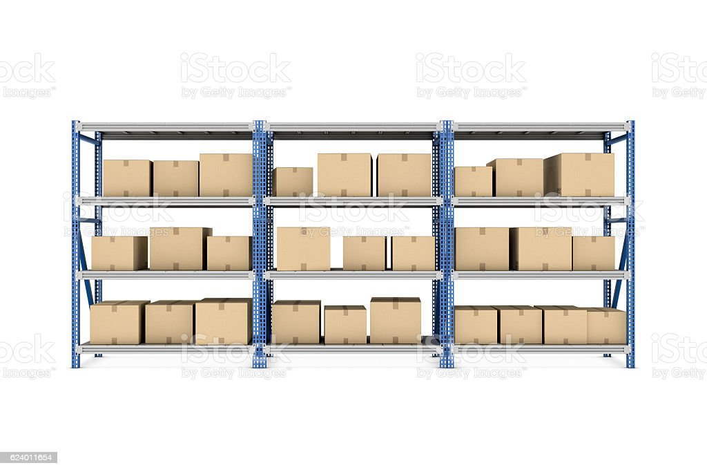 Rendering three metal racks put together with beige cardboard boxes stock photo