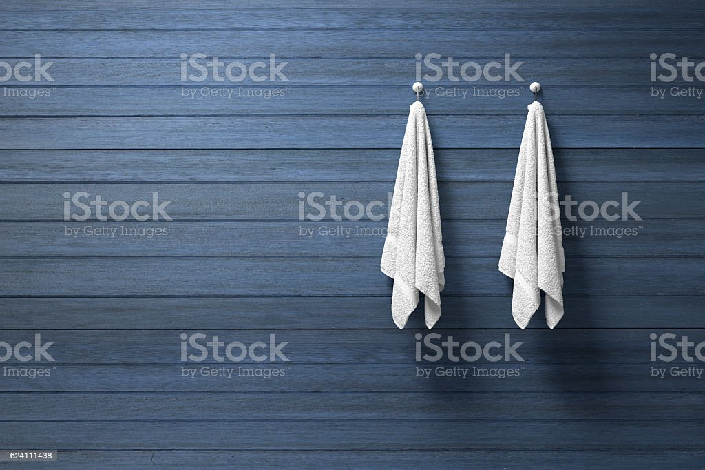 3D rendering : two peace of white towel hanging stock photo