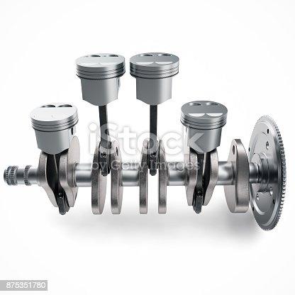 istock 3D Rendering V4 engine pistons and cog isolated on white background. Pistons and crankshaft. Four cylinder engine. V4 Car engine. Concept of modern car engine. 875351780