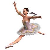 3D rendering vintage ballerina on white