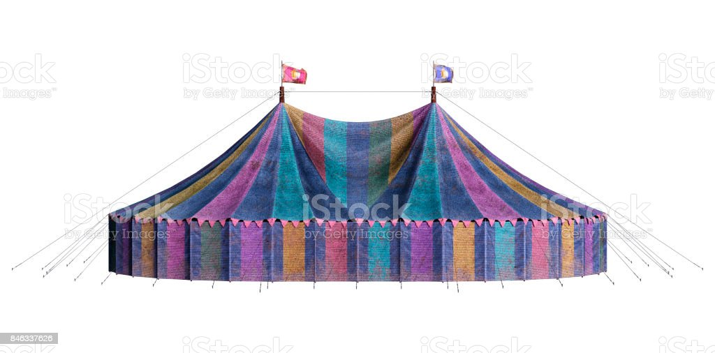 3D Rendering Vintage Carnival Big Tent on White stock photo