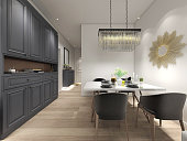3D rendering, warm dining room area design, wooden dining table and chairs next to the dining cabinet
