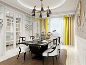 3D rendering, warm dining room area design, wooden table and chair