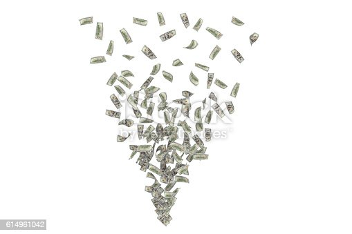 istock Rendering whirlwind of dollar bills forming triangle, isolated on white 614961042