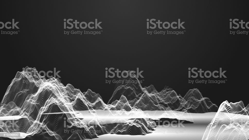Rendering white abstract digital wave form on dark background. Wave surface of particles. 3d illustration background stock photo