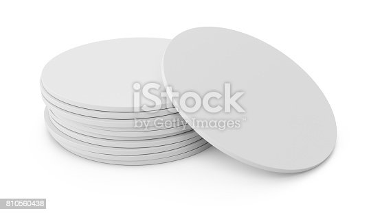 istock 3D rendering white beer coaster isolated on white background 810560438