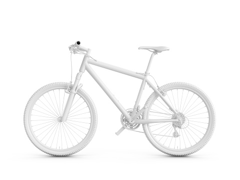 3D Rendering white bicycle isolated on white background.