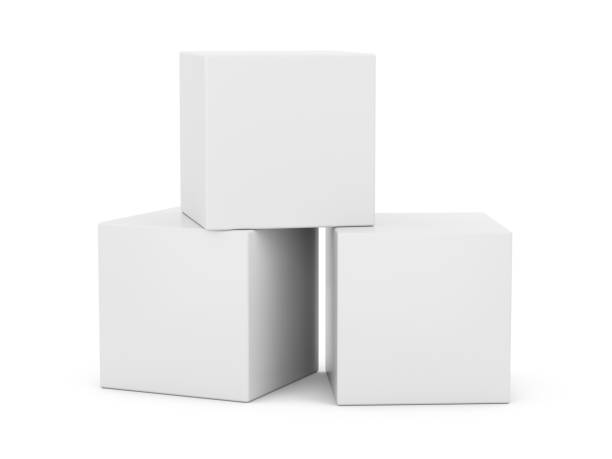3D Rendering weißen Boxen auf weißem Hintergrund – Foto