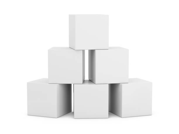 3D Rendering White Boxes on white background stock photo