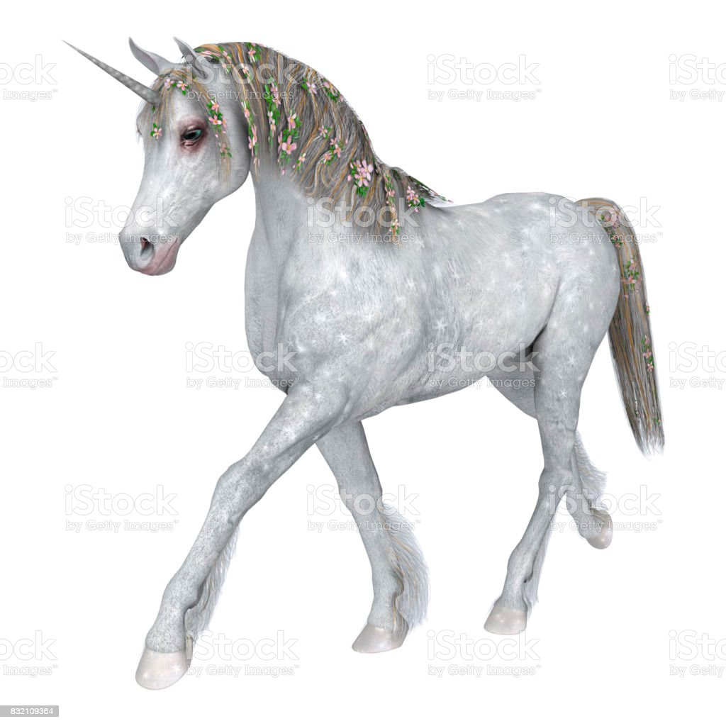 3D Rendering White Fantasy Unicorn on White stock photo