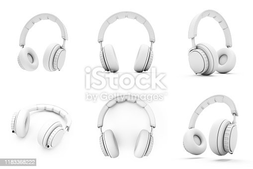istock 3D Rendering White headphones isolated on white background 1183368222