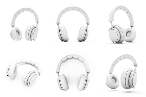 3D Rendering Weiße Kopfhörer isoliert auf weißem Hintergrund – Foto