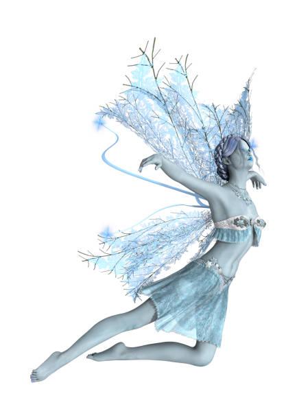 3d-rendering winter fairy auf weiß - fee stock-fotos und bilder