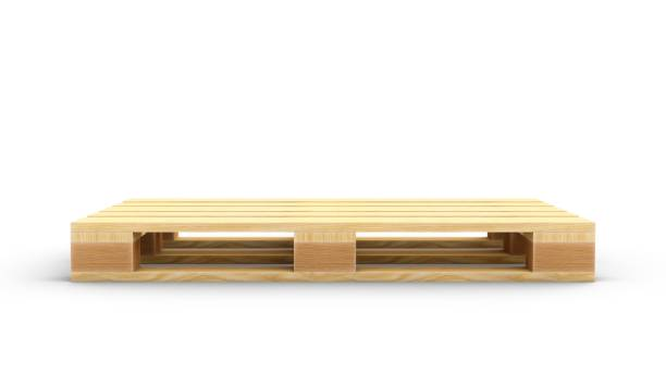 3D-Rendering Holzpalette isoliert auf weißem Hintergrund – Foto