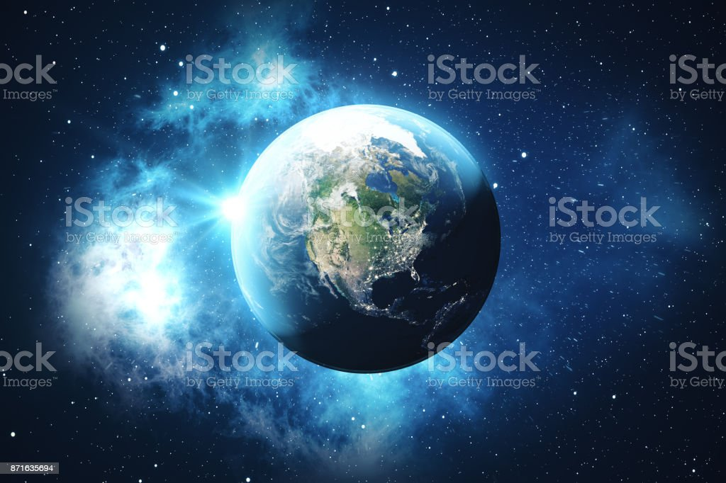 3D Rendering World Globe from Space in a Star Field Showing Night Sky With Stars and Nebula. View of Earth From Space. Elements of this image furnished by NASA royalty-free stock photo