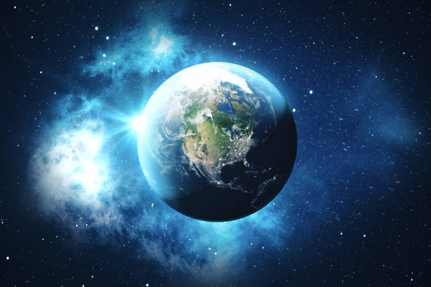 3D Rendering World Globe from Space in a Star Field Showing Night Sky With Stars and Nebula. View of Earth From Space. Elements of this image furnished by NASA stock photo