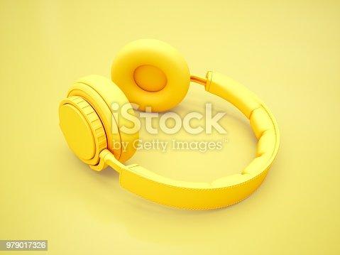 istock 3D Rendering Yellow headphones isolated on yellow background 979017326