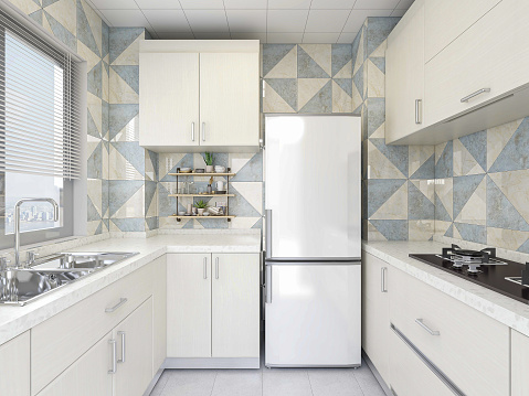 3D rendering,Modern family kitchen design, new cabinets and kitchenware with refrigerators, sunlight from the window.