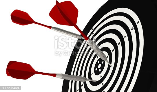 3D Rendering,Realistic close up of the three dart arrows hitting to bullseye with selective focus, isolated on white background.