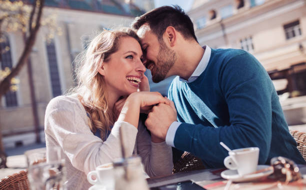 Rendezvous. Romantic couple having a meeting in the cafe. Dating, love, relationships stock photo