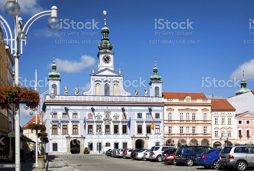 Renesance Town Hall in Ceske Budejovice, Czech Republic. stock photo
