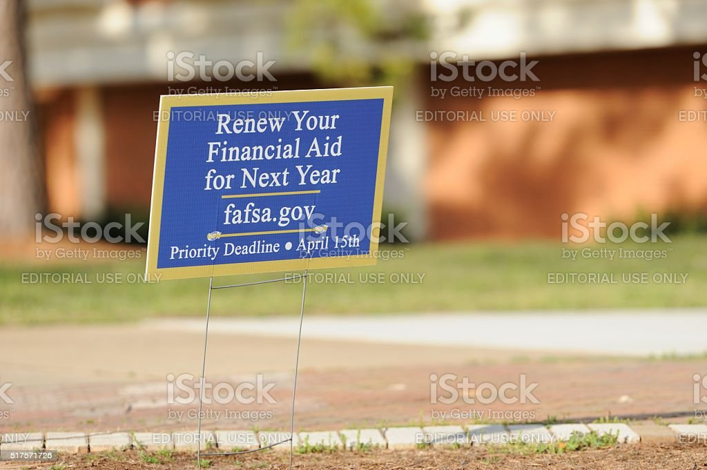 Renew your finanical aid for next year at fafsa stock photo