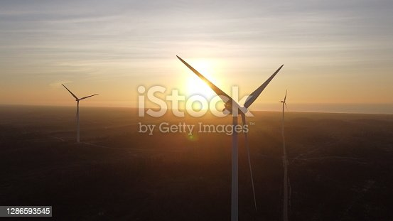 Eolic park at Portugal. Aerial view by sunset