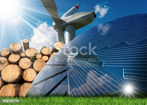 Renewable energies sources - Wind energy with a wind turbine, solar energy with a solar panel, biomass with a stack of tree trunks