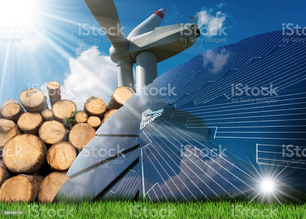 Renewable Energies Sources - Wind Solar Biomass stock photo