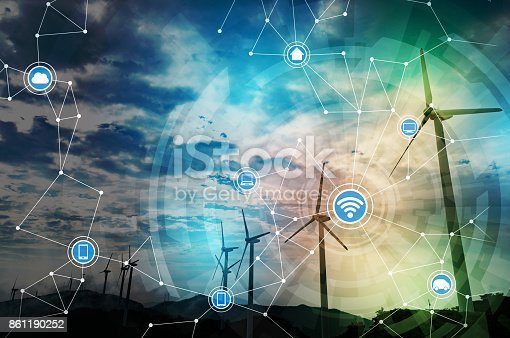 istock renewable energy and communication network concept. abstract mixed media. 861190252
