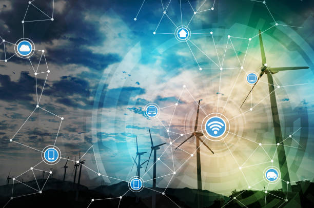 renewable energy and communication network concept. abstract mixed media. stock photo