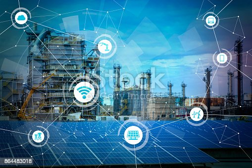 istock Renewable energy and Internet of Things. Smart factory. Smart energy. Smart grid concept. 864483018